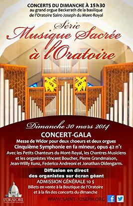 Concert-gala Messe de Widor - 30 mars 2014